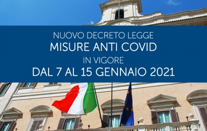 DECRETO LEGGE 5 GENNAIO 2021| Nuove misure in vigore dal 7 al 15 gennaio