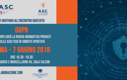 PRIVACY E SPORT, UN INCONTRO SUL GDPR PER ASD E SSD