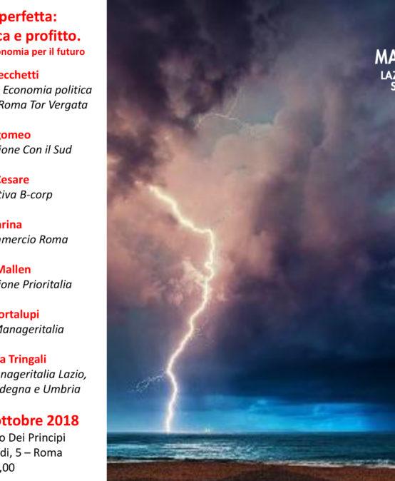 24 OTTOBRE, TAVOLA ROTONDA MANAGERITALIA LAZIO SU SOSTENIBILITA', ETICA E PROFITTO