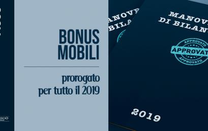 BONUS MOBILI PROROGATO PER TUTTO IL 2019