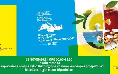 """11 NOVEMBRE   """"Mercato Mediterraneo"""" Fiera di Roma   Tavola Rotonda """"La Reputazione on-line della Ristorazione Romana: evidenze e prospettive"""""""