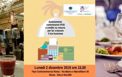 """2 DICEMBRE   Roadshow Fipe Roma Banca Intesa SanPaolo """"Pagamenti digitali e credito su misura per far crescere il tuo business"""""""