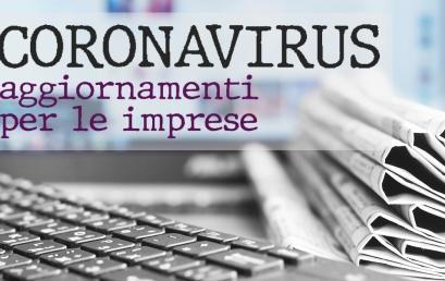 Emergenza Coronavirus – aggiornamenti per le imprese