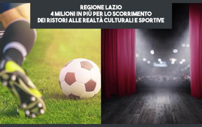 Dalla Regione Lazio 4 milioni in più per lo scorrimento dei ristori alle realtà culturali e sportive