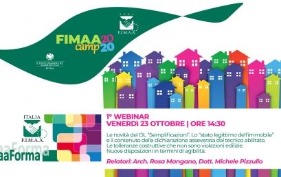 23 OTTOBRE | Primo webinar FIMAA Camp FIMAA FORMA