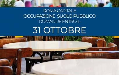 ROMA | DOMANDE DI OCCUPAZIONE SUOLO PUBBLICO ENTRO IL 31 OTTOBRE, un'opportunità per le attività di somministrazione