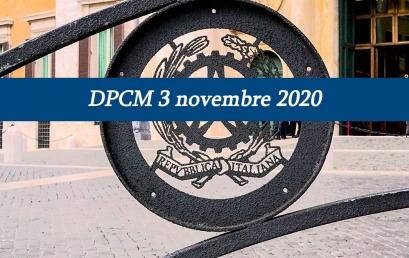 DPCM 3 NOVEMBRE: COPRIFUOCO DALLE 22 ALLE 5 E MISURE DISTINTE PER ZONE DI RISCHIO