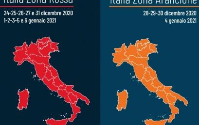 DL NATALE 2020 | Dal 24 dicembre al 6 gennaio Italia zona rossa nei festivi e prefestivi e arancione nei giorni lavorativi