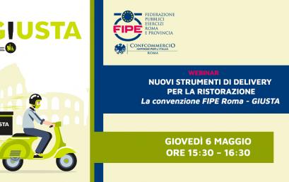6 MAGGIO | Nuovi strumenti di delivery per la ristorazione | Webinar FIPE Roma