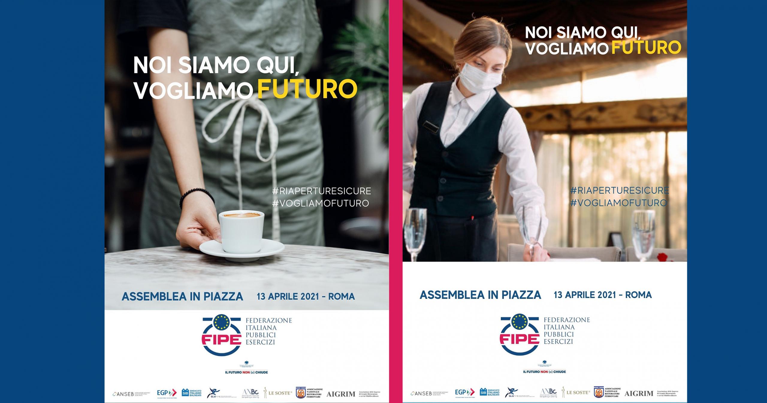 FIPE CONFCOMMERCIO ROMA: VOGLIAMO UNA DATA PER RIAPRIRE   Assemblea straordinaria in piazza martedì 13 aprile