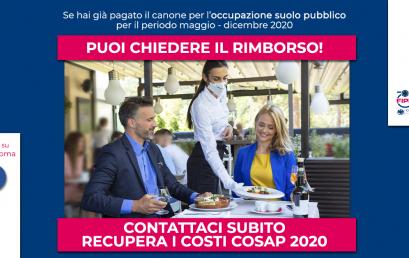 Recupera i costi COSAP 2020   Contatta subito Fipe Confcommercio Roma!